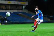 Ben Close (33) of Portsmouth takes a penalty during the shoot out at full time after a 2-2 draw during the Leasing.com EFL Trophy match between Oxford United and Portsmouth at the Kassam Stadium, Oxford, England on 8 October 2019.