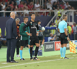 August 8, 2017 - Skopje, Macedonia - Cristiano Ronaldo of Real Madrid  during the UEFA Super Cup final between Real Madrid and Manchester United at the Philip II Arena on August 8, 2017 in Skopje, Macedonia. (Credit Image: © Raddad Jebarah/NurPhoto via ZUMA Press)