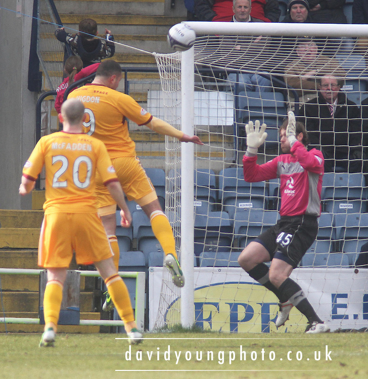 Michael Higdon  opens the scoring - Dundee v Motherwell in the Clydesdale Bank Scottish Premier League at Dens Park.. - © David Young - www.davidyoungphoto.co.uk - email: davidyoungphoto@gmail.com