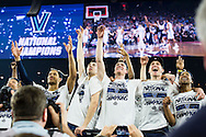 04 APR 2016: Villanova University celebrates their win over the University of North Carolina during the 2016 NCAA Men's Division I Basketball Final Four Championship game held at NRG Stadium in Houston, TX.  Villanova defeated North Carolina 77-74 to win the national title. Brett Wilhelm/NCAA Photos