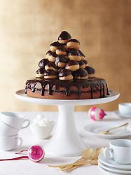 Holiday Dinner. Jam-filled Cake w/Chocolate Glaze & Profiteroles w/Raspberry Chocolate Glaze. ED106330_07_28_10_JK Martha Stewart Living Everyday Food