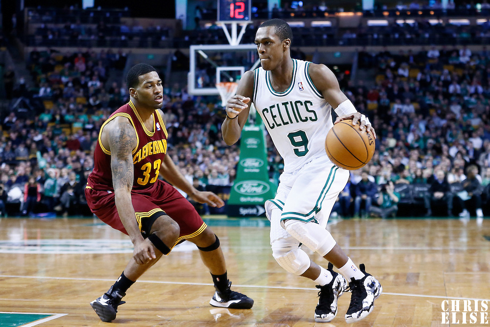 19 December 2012: Boston Celtics point guard Rajon Rondo (9) drives past Cleveland Cavaliers small forward Alonzo Gee (33) during the Boston Celtics 103-91 victory over the Cleveland Cavaliers at the TD Garden, Boston, Massachusetts, USA.