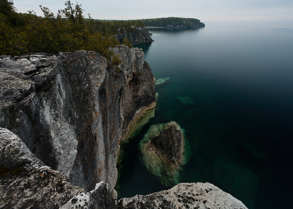 Evening view of part  Indian Head Cove Bruce Peninsula National Park, Ontario, Canada