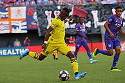 Luis Diaz #18 of the Columbus Crew kicks the ball upfield during a MLS soccer game, Sunday, Aug 25th, 2019, in Cincinnati, OH. (Jason Whitman/Image of Sport)
