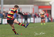 Carmarthen Quins' outside half Steffan Marshall kicks a conversion.<br /> <br /> Photographer: Dan Minto<br /> <br /> Indigo Welsh Premiership Rugby - Round 12 - Llandovery RFC v Carmarthen Quins RFC - Saturday 28th December 2019 - Church Bank, Llandovery, South Wales, UK.<br /> <br /> World Copyright © Dan Minto Photography<br /> <br /> mail@danmintophotography.com <br /> www.danmintophotography.com