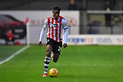 Chiedozie Ogbene (24) of Exeter City during the EFL Sky Bet League 2 match between Exeter City and Grimsby Town FC at St James' Park, Exeter, England on 29 December 2018.