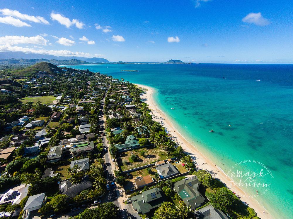 Homes line Lanikai Beach, Oahu, Hawaii