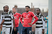 Vadaine Oliver (York City) and Jon Parkin (York City) wait for a corner to be crossed over during the Vanarama National League match between York City and Forest Green Rovers at Bootham Crescent, York, England on 29 April 2017. Photo by Mark PDoherty.
