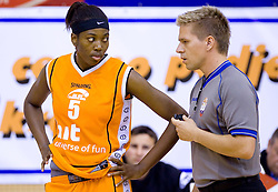 Aya Traore and referee Edo Javor at finals match of Slovenian 1st Women league between KK Hit Kranjska Gora and ZKK Merkur Celje, on May 14, 2009, in Arena Vitranc, Kranjska Gora, Slovenia. Merkur Celje won the third time and became Slovenian National Champion. (Photo by Vid Ponikvar / Sportida)
