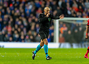 Referee Szymon Marciniak (POL) gives a penalty after a VAR review during the Europa League Round of 16 match between Rangers FC and Bayer Leverkusen at Ibrox Park, Glasgow, Scotland on 12 March 2020.