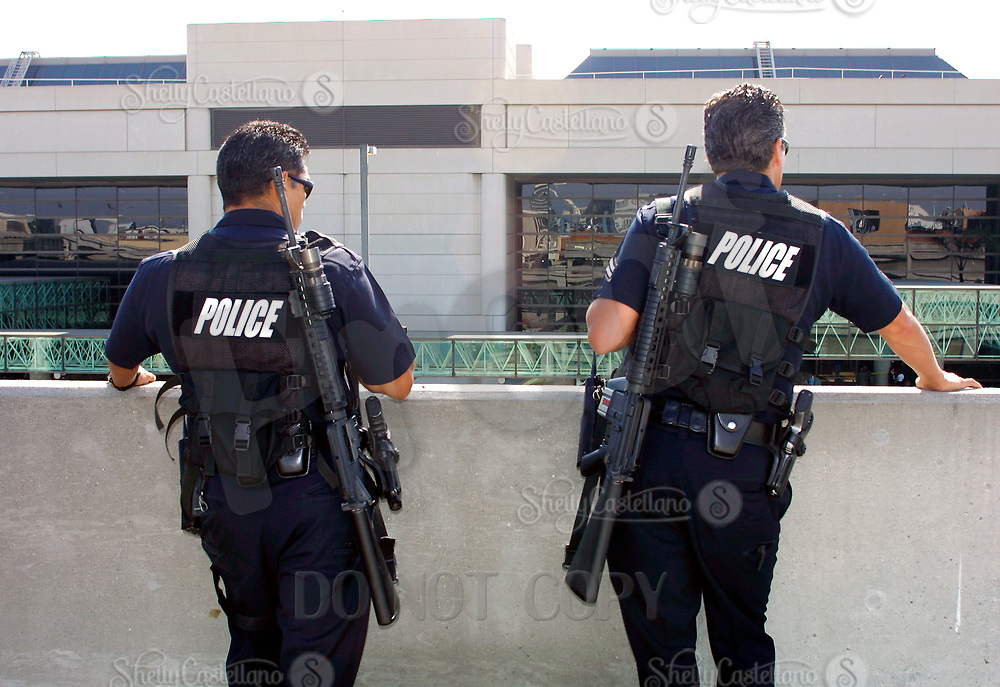 Jul 04, 2002; Los Angeles, CA, USA; LAPD sharp shooters helps to secure the Tom Bradley International terminal before allowing passengers to return at Los Angeles International airport where Egyptian gunman HESHAM MOHAMED HADAYET, 41, opened fire at the EL AL ticket counter where two civilians were killed and four others wounded.<br />