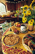 Colorado, Hesperus, Blue Lake Ranch, breakfast served on table