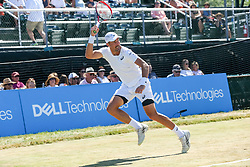 July 20, 2018 - Newport, RI, U.S. - NEWPORT, RI - JULY 20: Steve Johnson (USA) returns to Dudi Sela (ISR) during their quarterfinal match up of the Dell Technologies Hall of Fame Open at the International Tennis Hall of Fame in Newport, Rhode Island on July 20, 2018. Johnson won the match 6-2, 6-3 and advanced to the semifinals. (Photo by Andrew Snook/Icon Sportswire) (Credit Image: © Andrew Snook/Icon SMI via ZUMA Press)