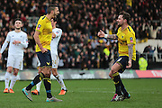 Oxford United midfielder Liam Sercombe celebrates his penalty with Oxford United forward Chris Maguire during the The FA Cup third round match between Oxford United and Swansea City at the Kassam Stadium, Oxford, England on 10 January 2016. Photo by Jemma Phillips.