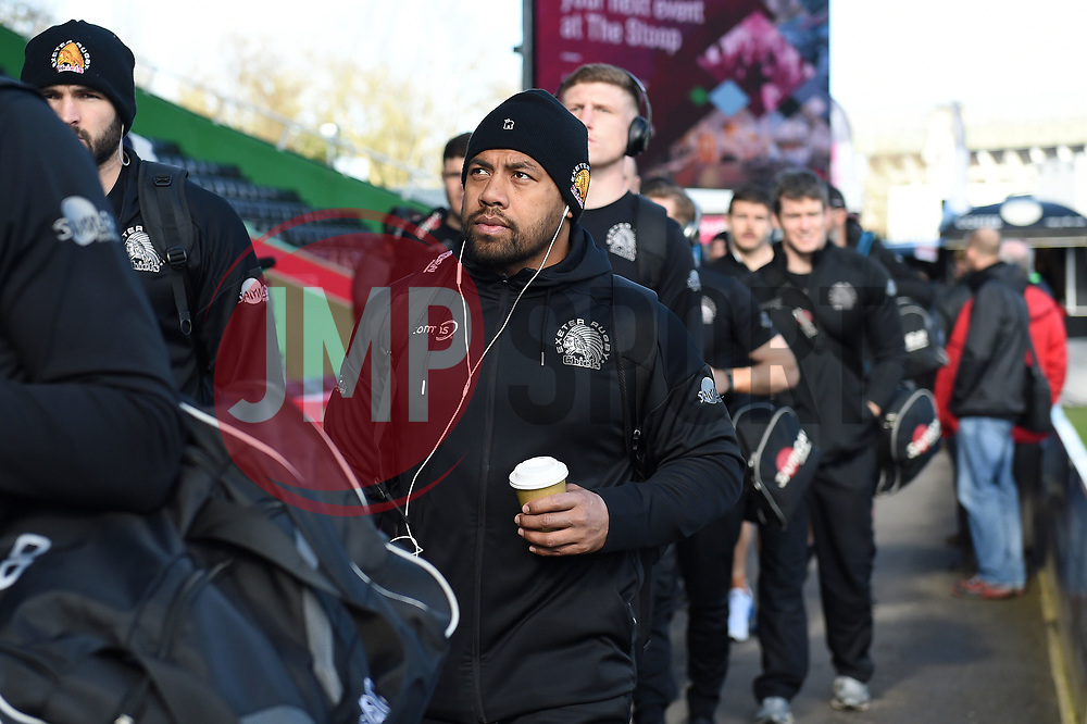 Elvis Taione and the rest of the Exeter Chiefs team arrive at the Stoop - Mandatory byline: Patrick Khachfe/JMP - 07966 386802 - 29/02/2020 - RUGBY UNION - The Twickenham Stoop - London, England - Harlequins v Exeter Chiefs - Gallagher Premiership