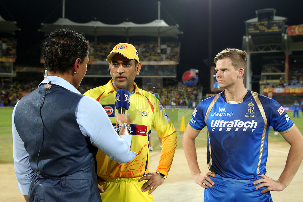Mahendrasingh Dhoni captain of Chennai Super Kings interviewed during toss of match 47 of the Pepsi IPL 2015 (Indian Premier League) between The Chennai Superkings and The Rajasthan Royals held at the M. A. Chidambaram Stadium, Chennai Stadium in Chennai, India on the 10th May 2015.Photo by:  Prashant Bhoot / SPORTZPICS / IPL