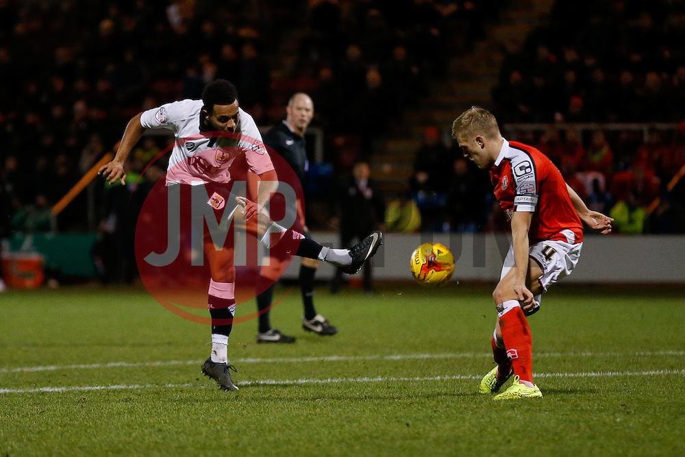 The shot from Korey Smith of Bristol City is blocked by Harry Davis of Crewe Alexandra - Photo mandatory by-line: Rogan Thomson/JMP - 07966 386802 - 20/12/2014 - SPORT - FOOTBALL - Crewe, England - Alexandra Stadium - Crewe Alexandra v Bristol City - Sky Bet League 1.
