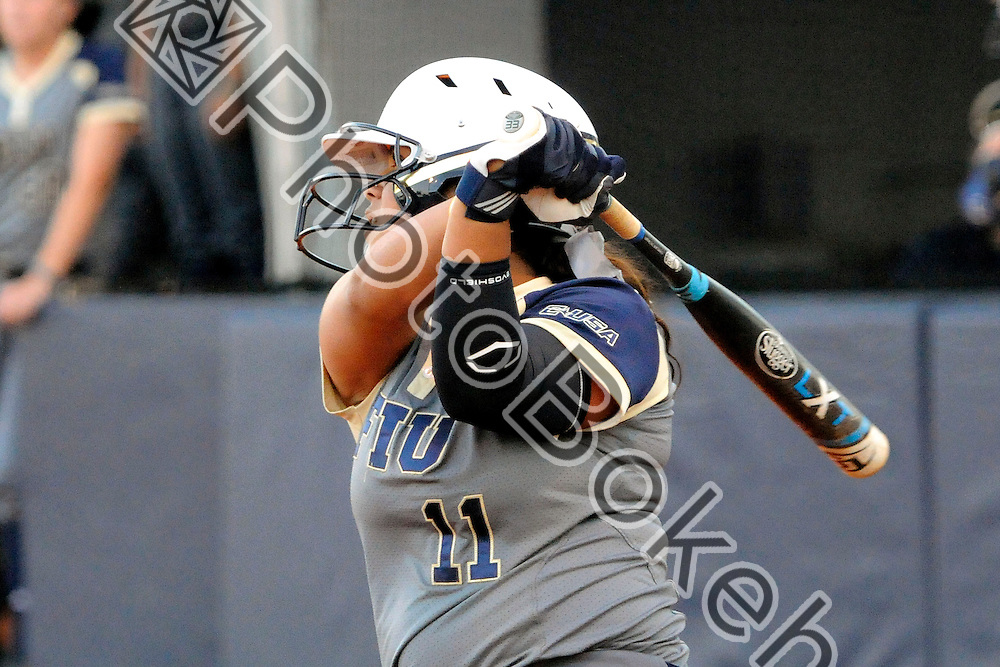 2015 February 13 - FIU's Aleima Lopez (11). Florida International University defeated Memphis, 3-2, at the Felsberg Field at the FIU Softball Stadium, Miami, Florida. (Photo by: Alex J. Hernandez / photobokeh.com) This image is copyright by PhotoBokeh.com and may not be reproduced or retransmitted without express written consent of PhotoBokeh.com. ©2015 PhotoBokeh.com - All Rights Reserved