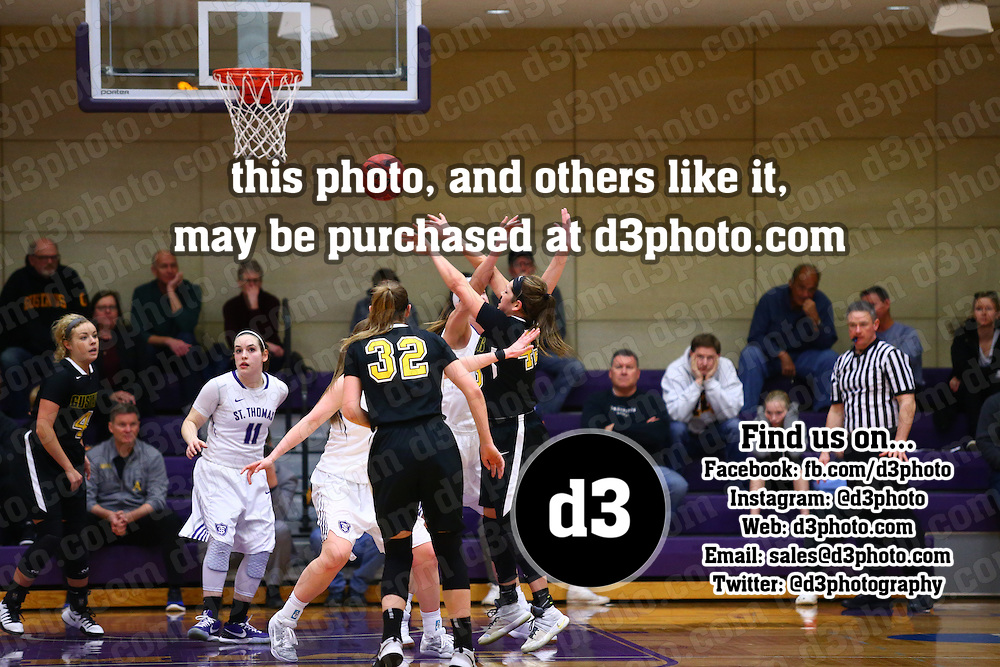 University of St. Thomas defeated Gustavus Adolphus College 66-49 in MIAC Women's Basketball Tournament action at Schoenecker Arena in St. Paul, Minnesota, on February 26, 2016