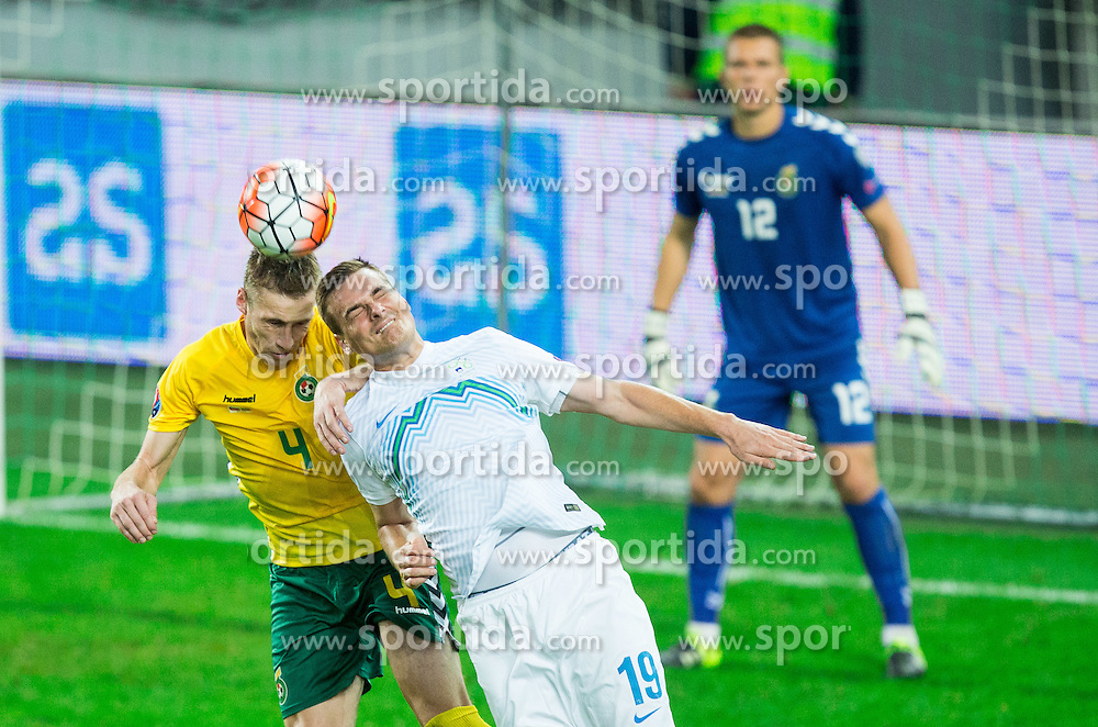 Vaidas Slavickas of Lithuania vs Nejc Pecnik of Slovenia during the EURO 2016 Qualifier Group E match between Slovenia and Lithuania, on October 9, 2015 in SRC Stozice, Ljubljana Slovenia. Photo by Vid Ponikvar / Sportida