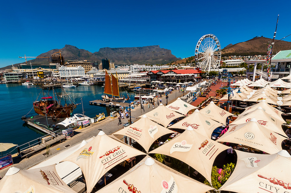Victoria & Alfred Waterfront with Central Business District and Table Mountain behind, Cape Town, South Africa.