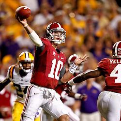 November 3, 2012; Baton Rouge, LA, USA;  Alabama Crimson Tide quarterback AJ McCarron (10) against the LSU Tigers during a game at Tiger Stadium. Alabama defeated LSU 21-17. Mandatory Credit: Derick E. Hingle-US PRESSWIRE