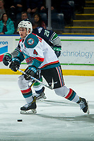 KELOWNA, CANADA - JANUARY 5: Gordie Ballhorn #4 of the Kelowna Rockets skates against the Seattle Thunderbirds on January 5, 2017 at Prospera Place in Kelowna, British Columbia, Canada.  (Photo by Marissa Baecker/Shoot the Breeze)  *** Local Caption ***