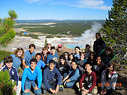 Bellaire IB/AP geography environmental science and Pin Oaks students at Grand Prismatic Spring in Yellowstone National Park.