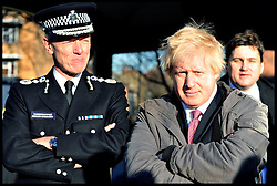 Boris Johnson and Met Police Commssioner, Bernard Hogan-Howe in Shepherd's Bush, London, as the Mayor launches UK's first Office for Policing and Crime. Monday January 16, 2011 Photo By Andrew Parsons/ I-Images