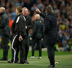MANCHESTER, ENGLAND - Monday, April 30, 2012: Manchester United's manager Alex Ferguson clashes with Manchester City's manager Roberto Mancini during the Premiership match at the City of Manchester Stadium. (Pic by David Rawcliffe/Propaganda)
