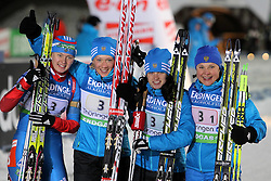 04.01.2012, DKB-Ski-ARENA, Oberhof, GER, E.ON IBU Weltcup Biathlon 2012, Staffel Frauen, im Bild Olga Vilukhina, Olga Zaitseva , Svetlana Sleptsova und Anna Bogaliy-Titovets (RUS) gewinnen die Staffel // during relay Ladies of E.ON IBU World Cup Biathlon, Thüringen, Germany on 2012/01/04. EXPA Pictures © 2012, PhotoCredit: EXPA/ nph/ Hessland..***** ATTENTION - OUT OF GER, CRO *****