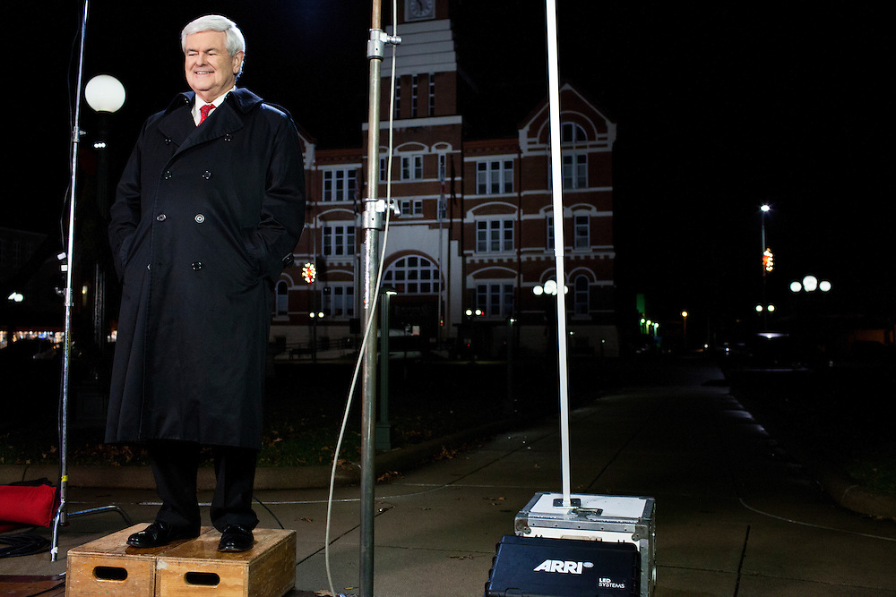 Republican presidential candidate Newt Gingrich tapes a segment for Fox News on Tuesday, December 20, 2011 in Oskaloosa, IA.