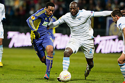 Marcos Tevares #9 of Maribor and Michael Ciani #2 of S.S. Lazio during football match between NK Maribor and S. S. Lazio Roma  (ITA) in 6th Round of Group Stage of UEFA Europa league 2013, on December 6, 2012 in Stadium Ljudski vrt, Maribor, Slovenia. (Photo By Gregor Krajncic / Sportida)