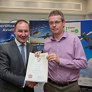 24.05.2018.       <br /> The Limerick Institute of Technology with Atlantic Air Adventures and funding from the Aviation Skillnet presented over forty certificates to Aviation professionals who have completed the Certificate in Aviation, The Aircraft Records Technician Level 7 and Part 21 Design, Level 7.<br /> <br /> Pictured at the event was Jim Gavin, The Irish Aviation Authority and Manager of the Dublin Football Team who presented, James Moloney with their cert.<br /> <br /> LIT in partnership with Atlantic Air Adventures, CAE Parc Aviation, Part 21 Design and industry experts such as Anton Tams, GECAS, Don Salmon, CAE Parc Aviation and Mick Malone, Part 21 Design have developed and deliver these key training programmes with funding for aviation companies provided by The Aviation Skillnet.<br /> <br /> . Picture: Alan Place
