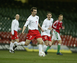 CARDIFF, WALES - WEDNESDAY FEBRUARY 9th 2005: Wales' Carl Fletcher in action against Hungary during the International Friendly match at the Millennium Stadium. (Pic by Jason Cairnduff/Propaganda)