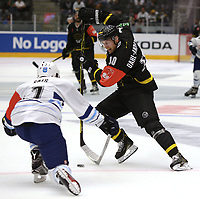 Champions League Ice Hockey, 18. august 2016 ,  Stavanger Oilers v HK Nitra<br />Christian Dahl-Andersen of Stavanger Oilers in action v Matus Rais of HK Nitra<br />Foto: Andrew Halseid Budd , Digitalsport