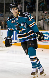 January 6, 2010; San Jose, CA, USA; San Jose Sharks defenseman Marc-Edouard Vlasic (44) before the game against the St. Louis Blues at HP Pavilion. San Jose defeated St. Louis 2-1 in overtime. Mandatory Credit: Jason O. Watson / US PRESSWIRE