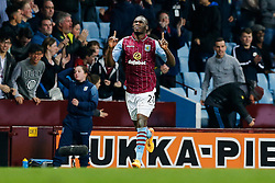 Christian Benteke of Aston Villa celebrates scoring a third goal to make it 3-3 - Photo mandatory by-line: Rogan Thomson/JMP - 07966 386802 - 07/04/2015 - SPORT - FOOTBALL - Birmingham, England - Villa Park - Aston Villa v Queens Park Rangers - Barclays Premier League.