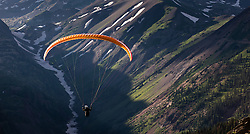 Paragliders flying off peak near Elkton, Colorado in the Rocky Mountains near Crested Butte.