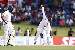 July 22, 2018 - Colombo, Sri Lanka - Sri Lankan cricketer Akila Dananjaya delivers a ball during the 3rd day's play in the 2nd test cricket match between Sri Lanka and South Africa at SSC International Cricket ground, Colombo, Sri Lanka on Sunday  22 July 2018  (Credit Image: © Tharaka Basnayaka/NurPhoto via ZUMA Press)
