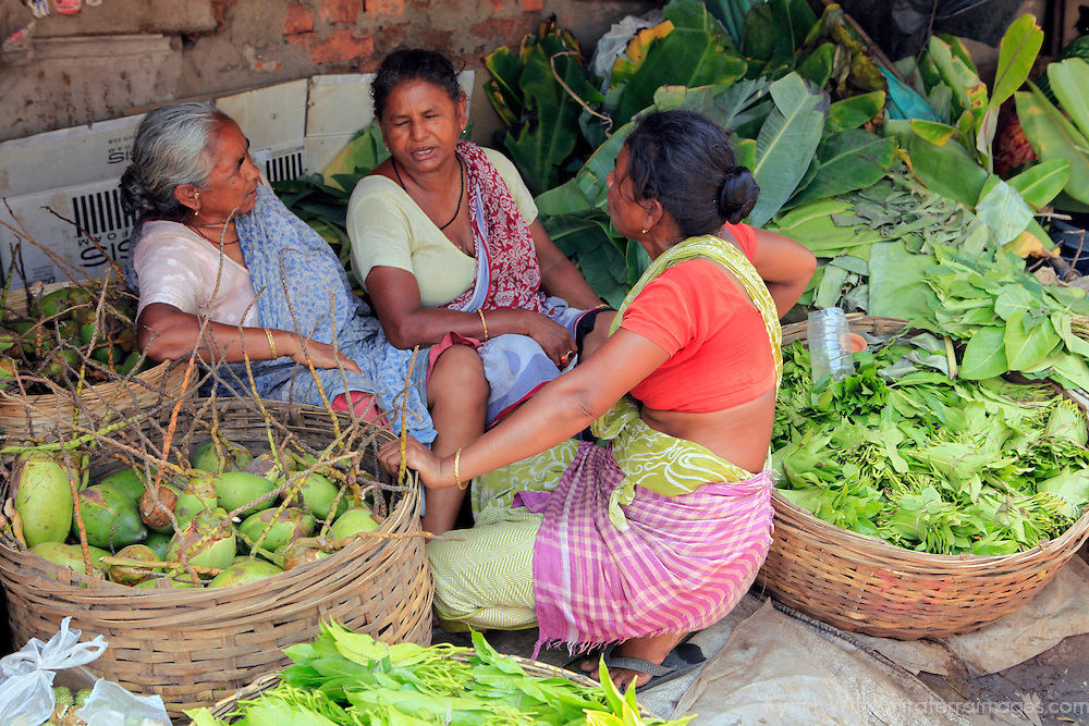 Asia, India, Calcutta. Scene from the flower market in Calcutta - three women chatting amongst the greens.