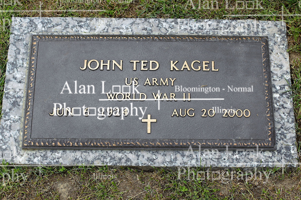 31 August 2017:   Veterans graves in Park Hill Cemetery in eastern McLean County.<br /> <br /> John Ted Kagel US Army World War II Jun 6 1924  Aug 20 2000
