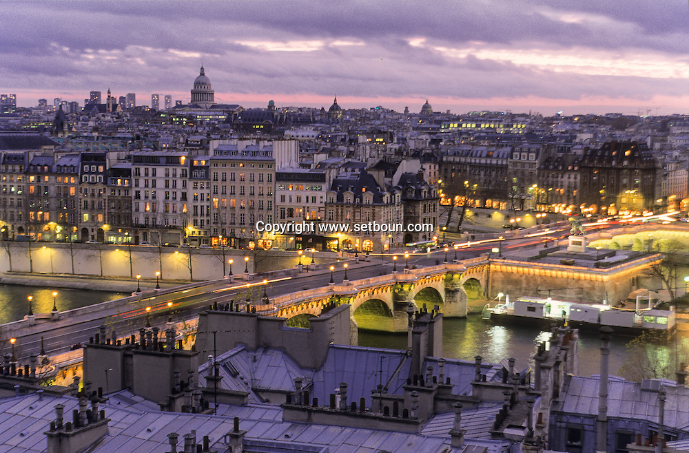 France. Paris. Elevated view on the Seine river. The Seine river and the institut de France,  75001Paris  France    <br /> France. Paris. Elevated view on the Seine river.
