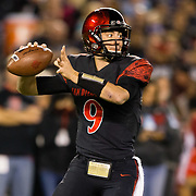 10 November 2018: San Diego State Aztecs quarterback Ryan Agnew (9) drops back to pass during the second quarter. The Aztecs lost 27-24 to UNLV Saturday night at SDCCU Stadium falling a game behind Fresno State in the conference standings.