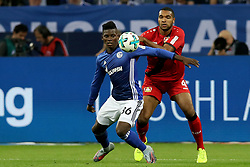 GELSENKIRCHEN, Sept. 30, 2017  Breel Embolo (L) of Schalke 04 vies with Jonathan Tah of Bayer Leverkusen during the German Bundesliga match between Schalke 04 and Bayer Leverkusen in Gelsenkirchen, Germany, on Sept. 29, 2017. The match ended with a 1-1 tie. (Credit Image: © Joachim Bywaletz/Xinhua via ZUMA Wire)