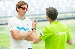 Iztok Cop talks to Rajmond Debevec during presentation of Slovenian Team for Baku 2015 European Games,  on June 4, 2015 in Koper, Slovenia. Photo by Vid Ponikvar / Sportida
