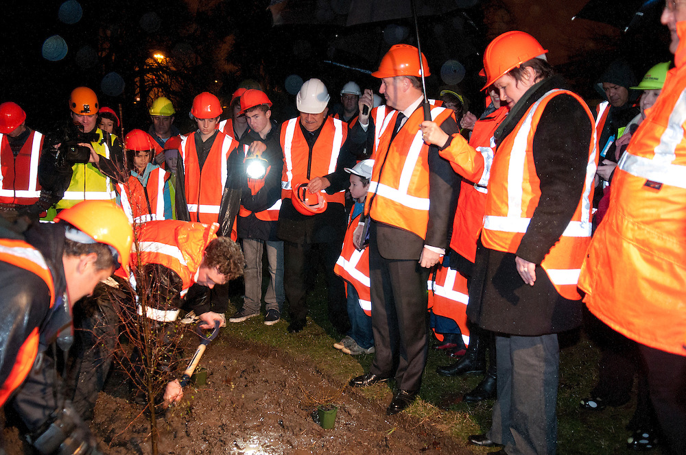 Prime Minister John Key takes part in a tree planting ceremony in Victoria Square in the red zone, Christchurch ,  New Zealand,  Tuesday, July 31, 2012. Credit:  SNPA / David Alexander.