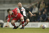 Photo: Aidan Ellis.<br /> Grimsby Town v Swindon Town. Coca Cola League 2. 17/03/2007.<br /> swindon's Michael Timlin (L) challenges Grimsby's James Hunt