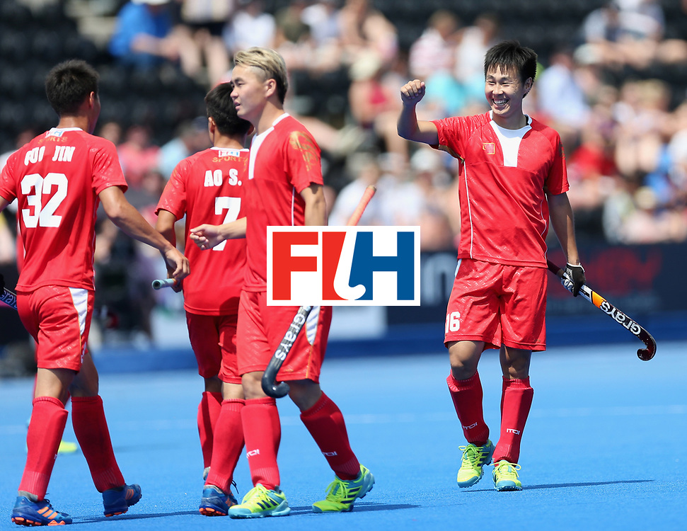 LONDON, ENGLAND - JUNE 17:  Jun Su of China celebrates scoring the third goal for China during the Hero Hockey World League Semi Final match between China and Korea at Lee Valley Hockey and Tennis Centre on June 17, 2017 in London, England.  (Photo by Alex Morton/Getty Images)