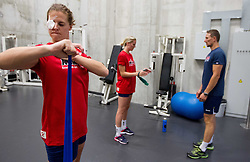 Linnea Torstensson in fitness during practice session of handball club RK Krim Mercator  at the beginning of new season 2012/13, on August 21, 2012 in Arena Stozice, Ljubljana, Slovenia. (Photo by Vid Ponikvar / Sportida.com)